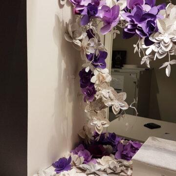 fleurs en papier pour les vitrines de la maison Tache au salon Baselworld