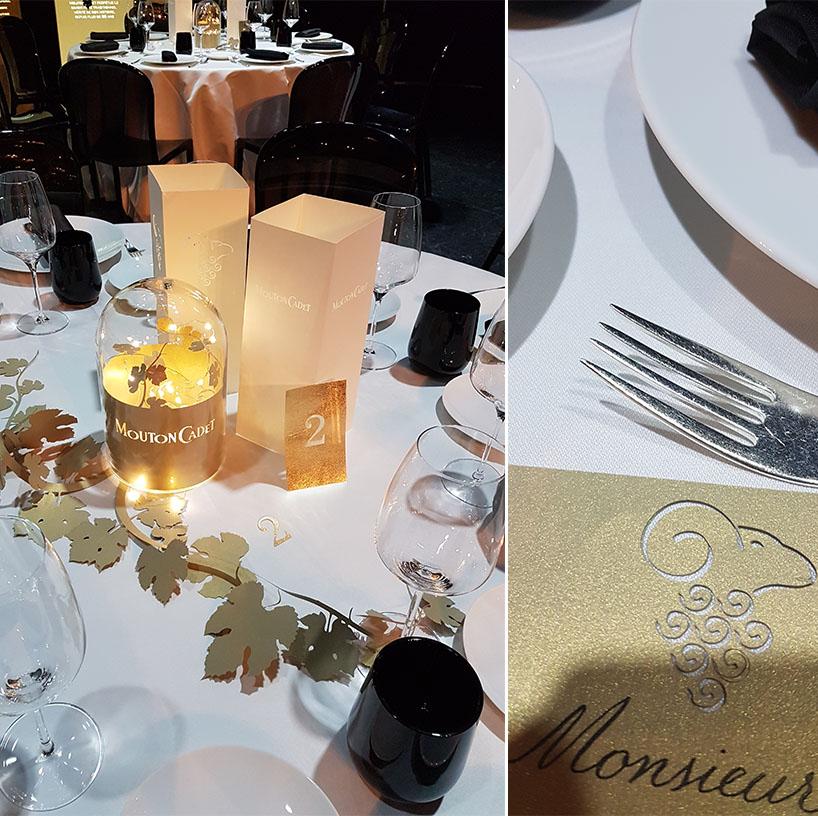 décoration des tables pour le lancement du nouveau vin mouton cadet
