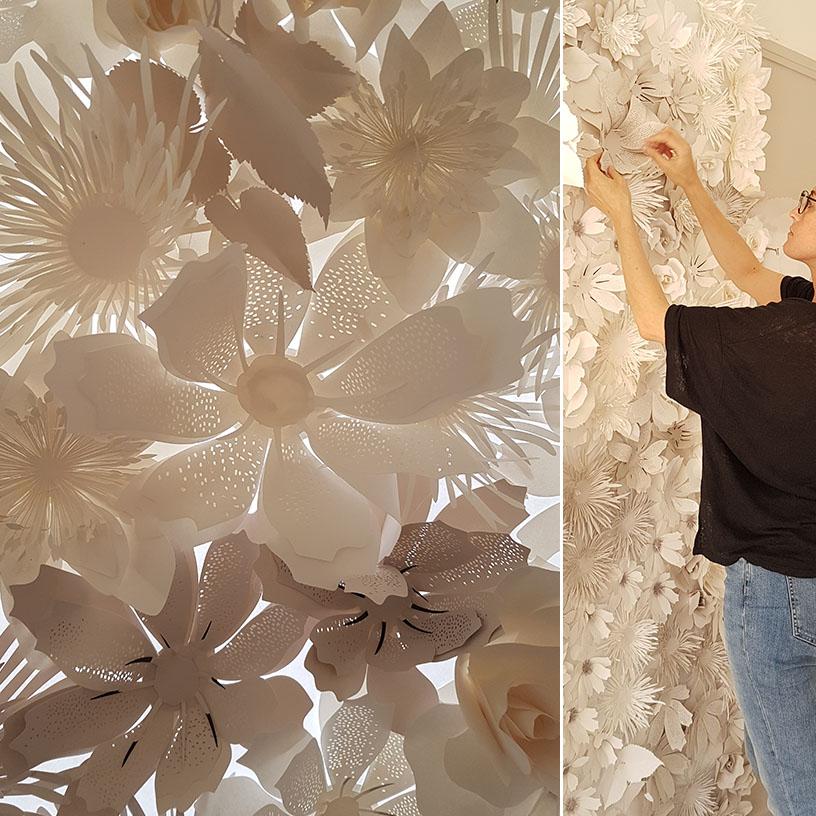 fleurs en papier pour décoration hôtel paris